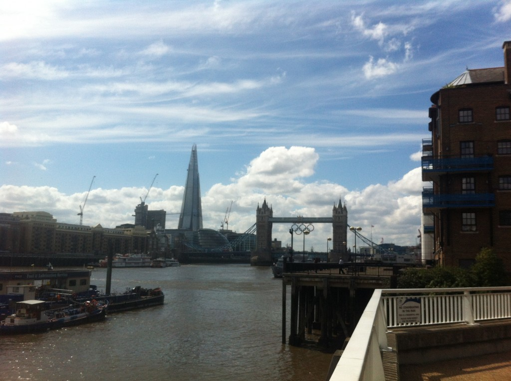London Tower Bridge and the Shard - View from quiet park between St. Katherine Docks & Wapping